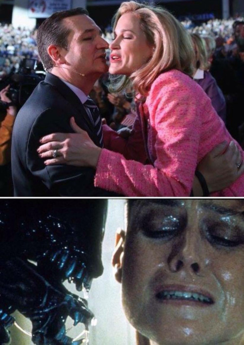 ted cruz kissing alien
