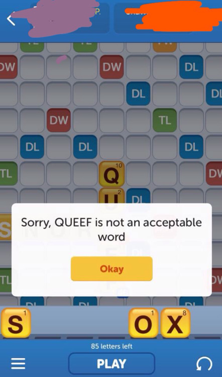 Not an acceptable Words with Friends word