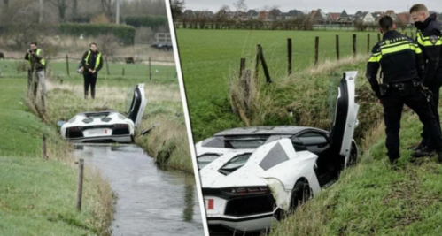 Lambo in a Dutch ditch